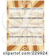 Royalty Free RF Clipart Illustration Of A 2011 Calendar Over Brown Swirls With Gears by mheld