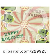 Royalty Free RF Clipart Illustration Of A Background Of Springy Robots With Merry Christmas And Happy Holiday Greetings On Gears And Swirls