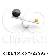 Royalty Free RF Clipart Illustration Of 3d Different Sized Balls Oddly Balanced On A Board by Jiri Moucka