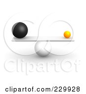 Royalty Free RF Clipart Illustration Of 3d Different Sized Balls Balanced On A Board