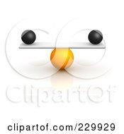 3d Black Balls Balanced On A Board