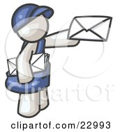 Clipart Illustration Of A White Mail Man Delivering A Letter by Leo Blanchette