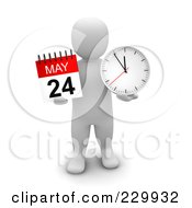 Royalty Free RF Clipart Illustration Of A 3d Blanco Man Holding A May Calendar And Clock