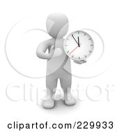 3d Blanco Man Standing And Holding A Wall Clock