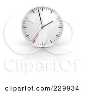 Royalty Free RF Clipart Illustration Of A 3d White Standard Wall Clock And Reflection by Jiri Moucka