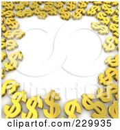 3d Border Of Golden Dollar Symbols
