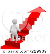 3d Blanco Man Climbing Up A Red Carpet Arrow Staircase