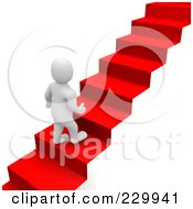 3d Blanco Man Climbing Up A Red Carpet Staircase