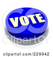 Royalty Free RF Clipart Illustration Of A 3d Blue VOTE Push Button by Jiri Moucka