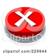Royalty Free RF Clipart Illustration Of A 3d Red X Mark Push Button