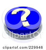 Royalty Free RF Clipart Illustration Of A 3d Blue Question Mark Push Button by Jiri Moucka