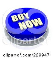 3d Blue Buy Now Push Button