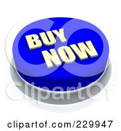 Royalty Free RF Clipart Illustration Of A 3d Blue BUY NOW Push Button by Jiri Moucka