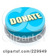Royalty Free RF Clipart Illustration Of A 3d Blue DONATE Push Button by Jiri Moucka