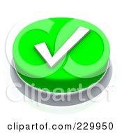 3d Green Check Mark Push Button