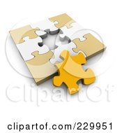 Poster, Art Print Of 3d Beige White And Orange Jigsaw Puzzle With One Open Space