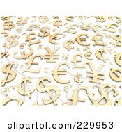 Royalty Free RF Clipart Illustration Of A Background Of 3d Gold World Currencies by Jiri Moucka