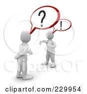 Royalty Free RF Clipart Illustration Of 3d Blanco Men Arguing With Each Other