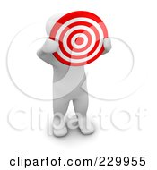 Royalty Free RF Clipart Illustration Of A 3d Blanco Man Holding Up A Bullseye by Jiri Moucka