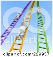 Royalty Free RF Clipart Illustration Of 3d Blanco Men Climbing Up Colorful Ladders Into The Sky by Jiri Moucka