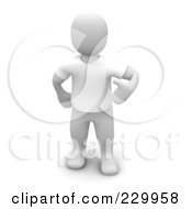 Royalty Free RF Clipart Illustration Of A 3d Blanco Man Wearing A White T Shirt by Jiri Moucka