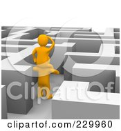 Royalty Free RF Clipart Illustration Of 3d Anaranjado Men Trying To Find Their Way Through A Maze
