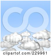 Royalty Free RF Clipart Illustration Of 3d Puffy White Clouds In A Light Blue Sky by Jiri Moucka