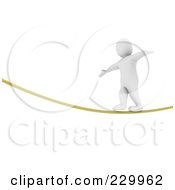 Royalty Free RF Clipart Illustration Of A 3d Blanco Man Balancing While Walking On A Rope by Jiri Moucka