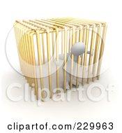 3d Blanco Man In Golden Jail Bars