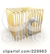 Royalty Free RF Clipart Illustration Of A 3d Blanco Man In Golden Jail Bars