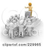 Royalty Free RF Clipart Illustration Of A 3d Anaranjado Man Speaking To An Audience