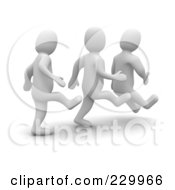 Royalty Free RF Clipart Illustration Of 3d Blanco Men Kicking Butt by Jiri Moucka