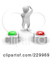 Royalty Free RF Clipart Illustration Of A 3d Blanco Man Trying To Decide Which Button To Press