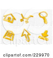 Digital Collage Of 3d Icons Made Of Yellow Pixels On A Grid 1