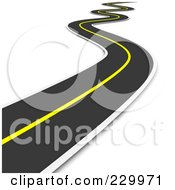 Royalty Free RF Clipart Illustration Of A 3d Curvy Road Leading Away Into The Distance by Jiri Moucka