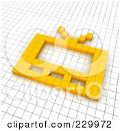 Royalty Free RF Clipart Illustration Of A 3d TV Icon Made Of Yellow Pixels On A Grid