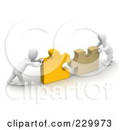 Royalty Free RF Clipart Illustration Of 3d Blanco Men Pushing Together Pieces Of A Puzzle
