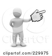 Royalty Free RF Clipart Illustration Of A 3d Blanco Man Pointing With A Cursor Hand by Jiri Moucka