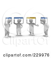 Royalty Free RF Clipart Illustration Of 3d Blanco Men Holding A Video Conference Their Heads In Computer Windows
