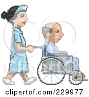 Royalty Free RF Clipart Illustration Of A Pixelated Nurse Pushing A Patient In A Wheelchair