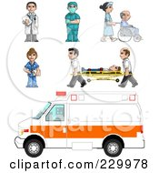 Royalty Free RF Clipart Illustration Of A Digital Collage Of Pixelated Paramedics And Doctors