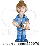 Royalty Free RF Clipart Illustration Of A Pixelated Female Doctor by Tonis Pan