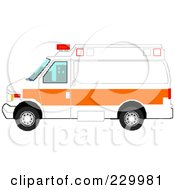 Royalty Free RF Clipart Illustration Of A Pixelated White And Orange Ambulance