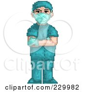 Royalty Free RF Clipart Illustration Of A Pixelated Male Surgeon