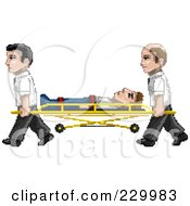Royalty Free RF Clipart Illustration Of Pixelated Paramedics Carrying A Man On A Stretcher