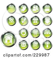 Royalty Free RF Clipart Illustration Of A Digital Collage Of Shiny Green And Chrome Computer And Website Icon Buttons