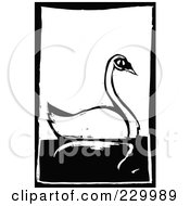Black And White Woodcut Styled Swan With A Black Border