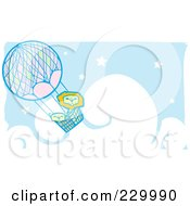 Lion Pair In A Hot Air Balloon In A Blue Starry Cloudy Sky