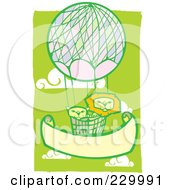 Royalty Free RF Clipart Illustration Of A Lion Pair In A Hot Air Balloon In A Green Cloudy Sky