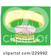 Blank Banner Over A Birthday Cake With Candles On Green